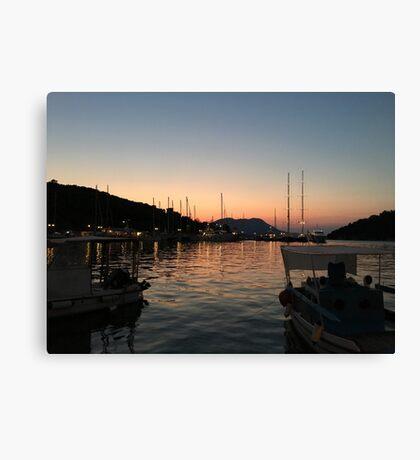 Sunset at Vathi town  Canvas Print