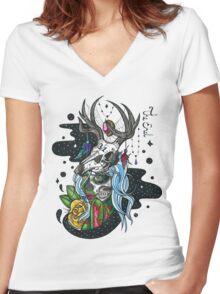 Zombie Girl Women's Fitted V-Neck T-Shirt