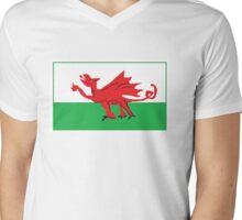 Welsh Dragon Flag - Cartoon Mens V-Neck T-Shirt