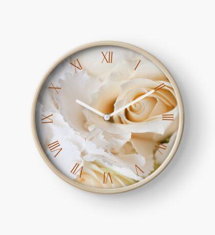 Wedding ecru flowers bouquet Clock