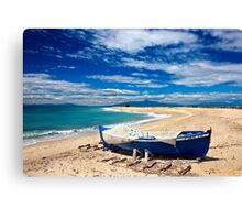 Blue boat at Poseidi Canvas Print