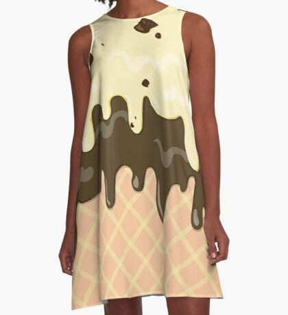 Vanilla Chocolate Chip Chocolicious Chocolate Ice Cream A-Line Dress