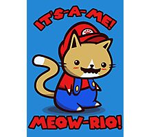 It's-a-me! Meow-rio! (Text ver.) Photographic Print