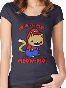 It's-a-me! Meow-rio! (Text ver.) Women's Fitted Scoop T-Shirt