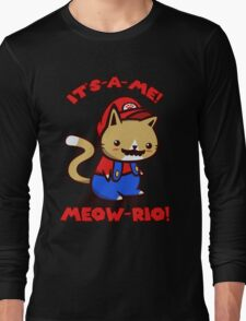 It's-a-me! Meow-rio! (Text ver.) Long Sleeve T-Shirt