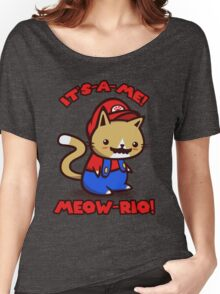 It's-a-me! Meow-rio! (Text ver.) Women's Relaxed Fit T-Shirt