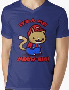 It's-a-me! Meow-rio! (Text ver.) Mens V-Neck T-Shirt