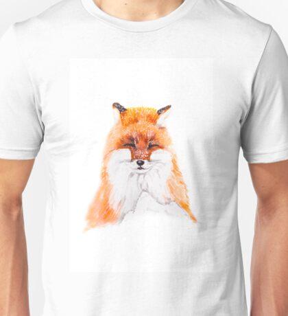 Fox - illustration of red fox in snow, portrait. Marker drawing. Unisex T-Shirt