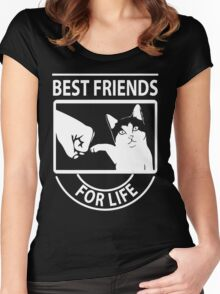 Cat best friends for life christmas shirt Women's Fitted Scoop T-Shirt