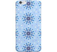 Blue snowflakes and dots iPhone Case/Skin