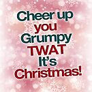 Cheer up you grumpy twat it's christmas - christmas card by buud