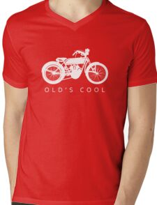 Old's Cool - Vintage Motorcycle Silhouette (White) Mens V-Neck T-Shirt