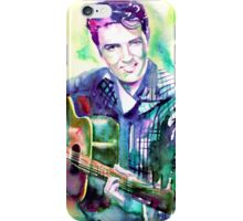 ELVIS playing the guitar - watercolor portrait iPhone Case/Skin