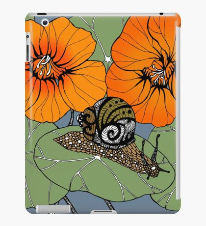 Snail with Nasturtiums iPad Case/Skin