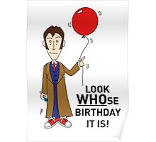 A Tenth Doctor Who themed Birthday Card  Poster