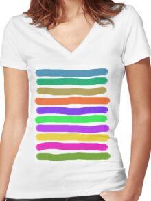 Brush Strokes #2 Veronica Women's Fitted V-Neck T-Shirt