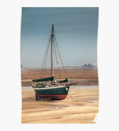 Sail boat stranded at low tide  Poster