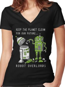 Robot Earth Women's Fitted V-Neck T-Shirt