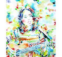 JOAN BAEZ playing - watercolor portrait Photographic Print