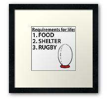 Food Shelter Rugby Framed Print