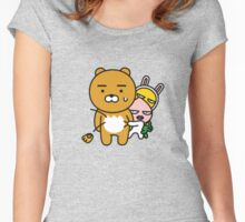 KakaoTalk Friends Hello! Ryan (카카오톡 라이언) Women's Fitted Scoop T-Shirt