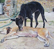 greyhound dogs scenic landscape realist art   by pollywolly