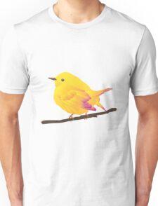 Yellow Cartoon Bird in Peach Background Unisex T-Shirt
