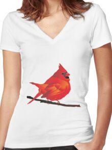 Orange Red Cartoon Bird in White Background Women's Fitted V-Neck T-Shirt