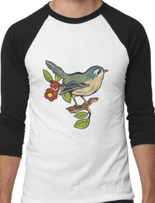 Bird On A Branch With Beige Background Men's Baseball ¾ T-Shirt