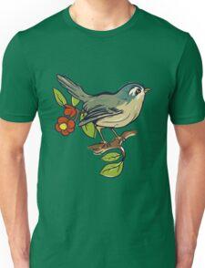 Bird On A Branch With Beige Background Unisex T-Shirt