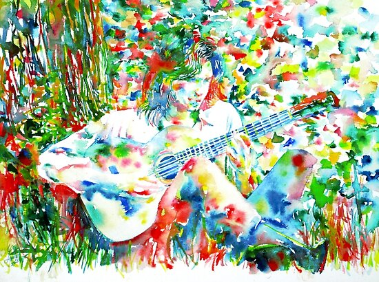 NICK DRAKE PLAYING the GUITAR - watercolor portrait by lautir