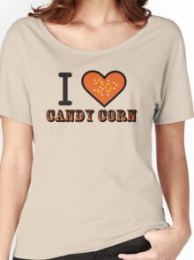 I Heart Candy Corn ( Black Text Clothing & Stickers ) Women's Relaxed Fit T-Shirt