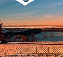 Colorful winter wonderland sundown IV   landscape photography Sticker