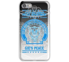 """NCPD """"Gie's Peace"""" Motto Black/Blue iPhone Case/Skin"""