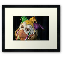 Blond Woman with Mask Framed Print