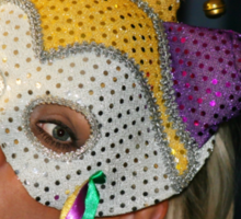 Blond Woman with Mask Sticker