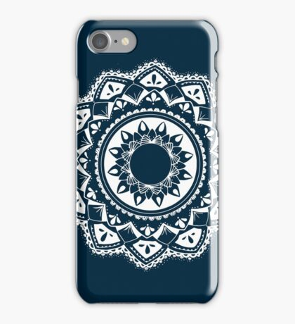Speak truth blue and white hand drawn mandala iPhone Case/Skin