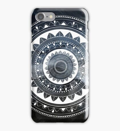 Gentle with my words blue and white hand drawn mandala iPhone Case/Skin