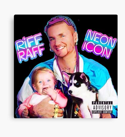 Riff Raff Neon Icon Black Canvas Print