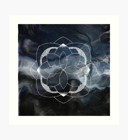 Concentration blue and white hand drawn mandala Art Print