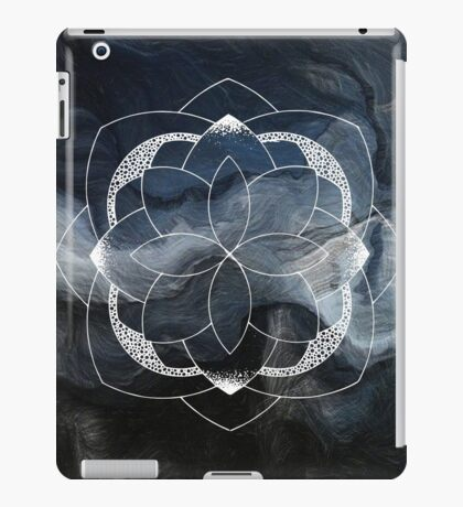 Concentration blue and white hand drawn mandala iPad Case/Skin