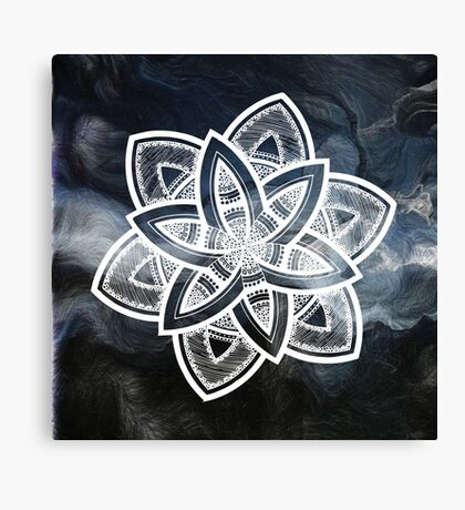 Authentic blue and white hand drawn mandala Canvas Print
