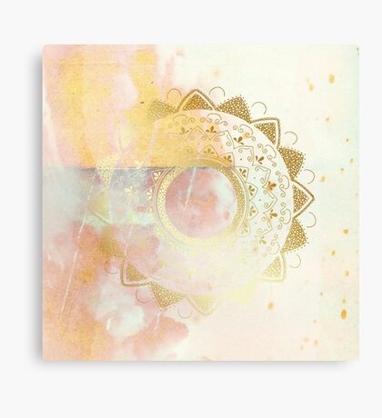 Quiet your mind pink and white hand drawn mandala Canvas Print