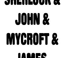 Sherlock, John, Mycroft, James by jabz