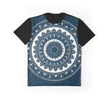 Expressive blue and white hand drawn mandala Graphic T-Shirt