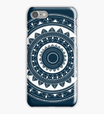 Expressive blue and white hand drawn mandala iPhone Case/Skin