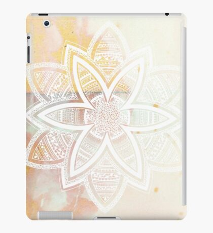 With the universe pink and white hand drawn mandala iPad Case/Skin