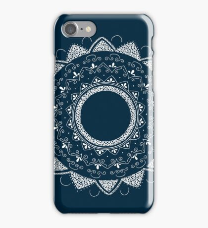 Healing my past blue and white hand drawn mandala iPhone Case/Skin