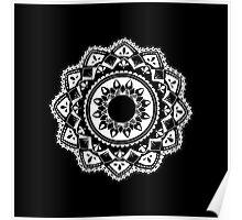 Cellular black and white mandala Poster