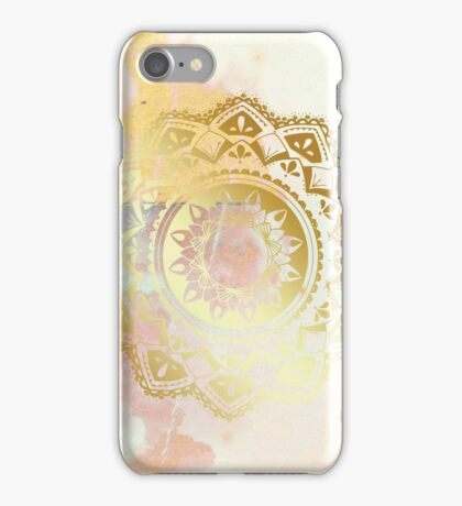 Grounded pink and white hand drawn mandala iPhone Case/Skin